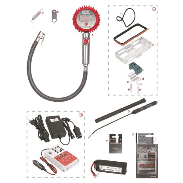 Batteriholder, batteri, lader, dæktryksmåler